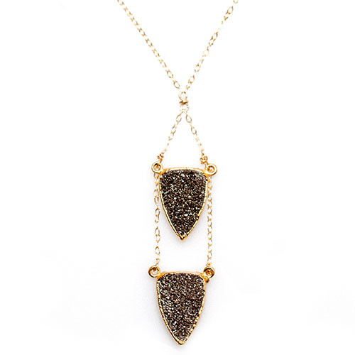 Double Arrowhead Druzy Necklace