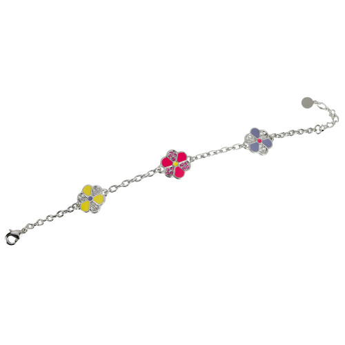 Multi-Colored Enamel Flower Bracelet