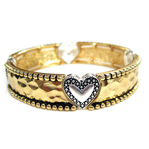 Gold/Silver Heart Bangle