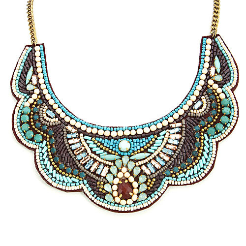 Tribal Mixed Media Hand Stitched Bib Necklace
