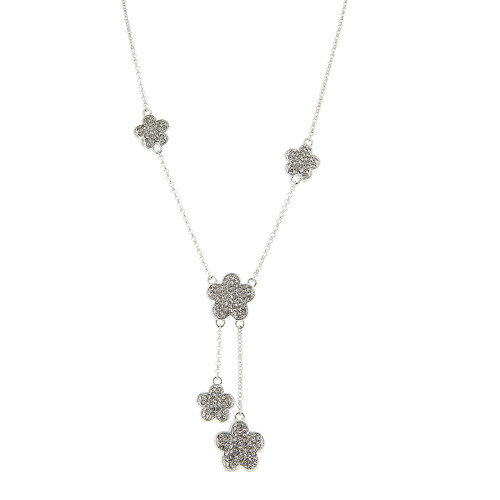 Stations of Pave Flowers Necklace