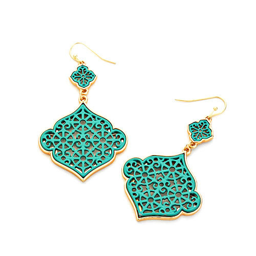 Laser Lotus Dangle Earring Green