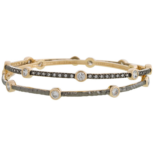 Freida Rothman's Soho Bezel Bangle Set Dark Rhodium