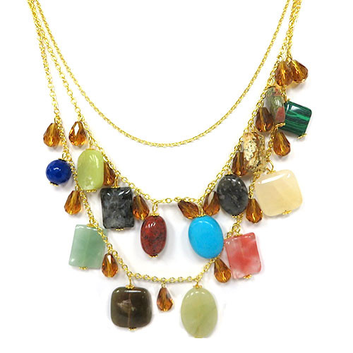 Semi-Precious Triple Strand Gemstone Necklace