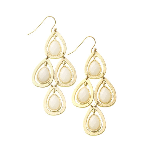 Chandelier Style White Lotus Leaf Earring