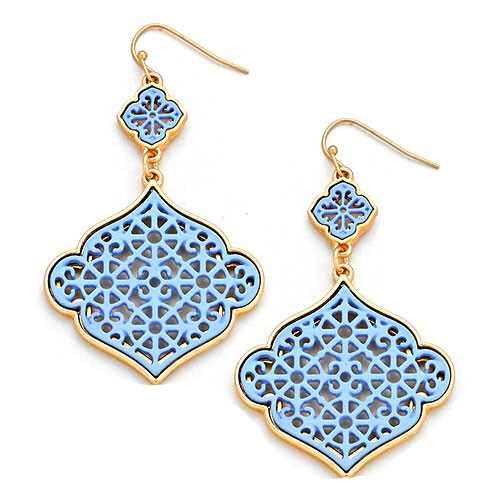 Laser Lotus Dangle Earring Blue