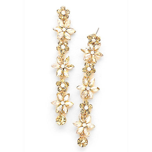 Crystal Flower Shoulder Dusting Earring