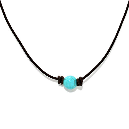Simple Turquoise Bead on Leather