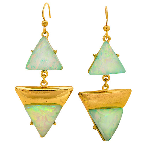 Deco Triangles Earrings Blue Opal