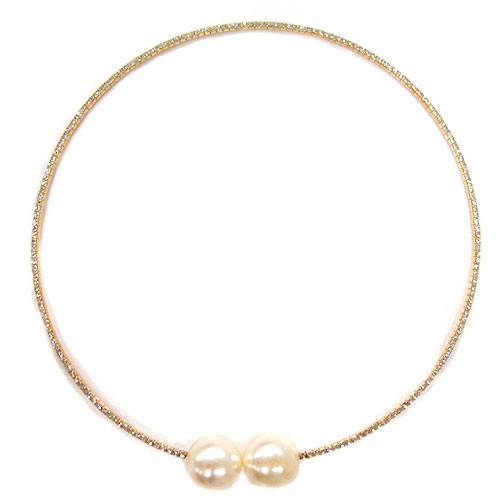 Crystal and Pearl Gold Collar