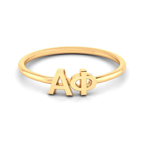 Alpha Phi Gold Thin Band Letter Ring