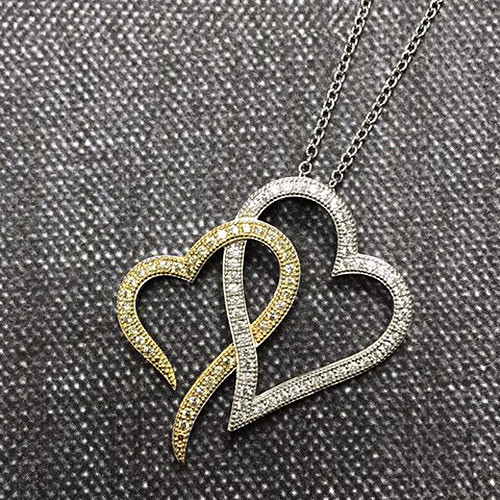 Lafonn's Clear/Canary Double Heart Necklace