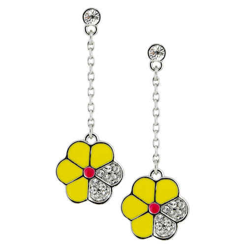 Yellow Enamel Flower Dangle Earring