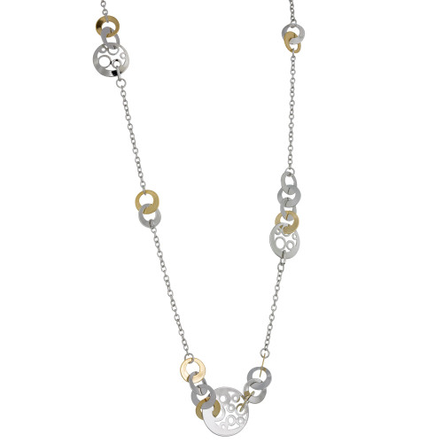 Long Two Tone Open Circles Necklace