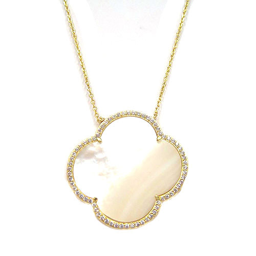 Mother-of Pearl Quatrefoil Necklace-G