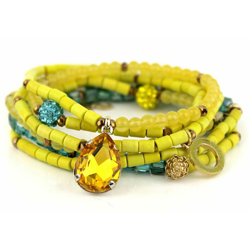 Yellow and Blue Zircon Wrap Bracelet/Necklace