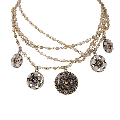 Soft Green and Topaz Multi-Chain Medallion Necklace G/S