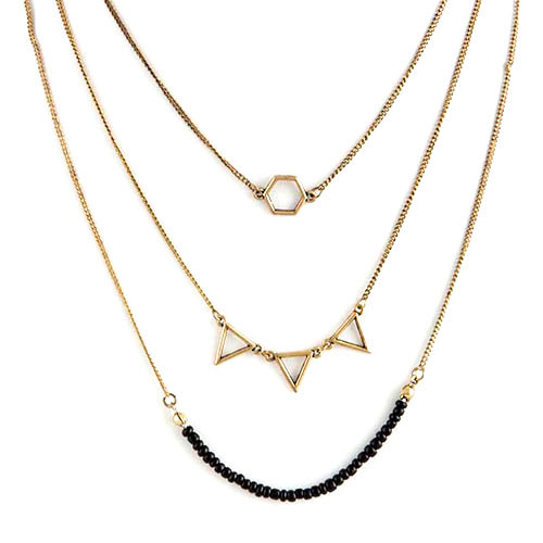 Black Geometric Layered Necklace