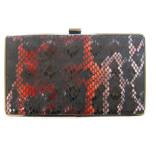 Sondra Roberts Red and Black Python Box Clutch