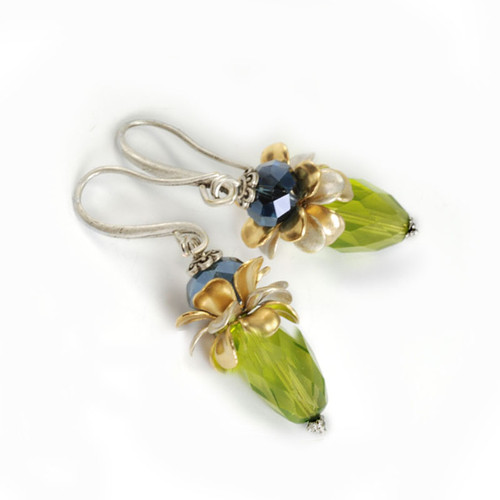 Olivine Crystal Flower Dangle