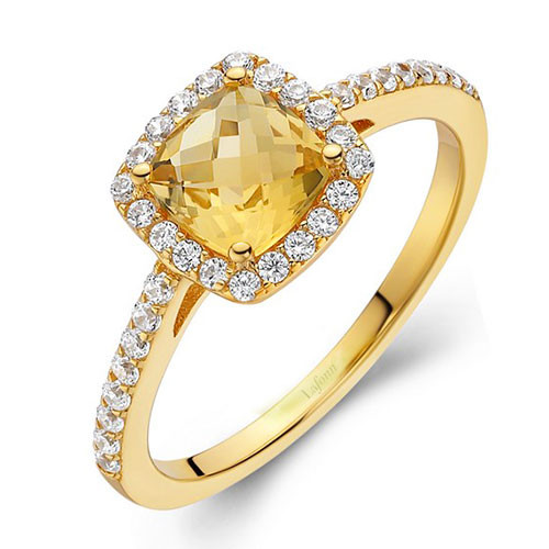 Lafonn's Faceted Square Citrine Princess Ring