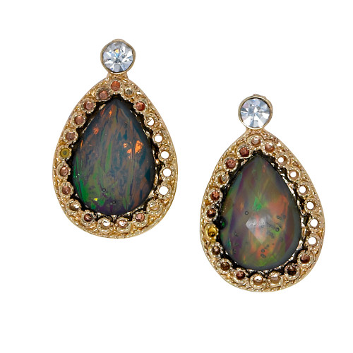 Gray Opal Teardrop Post