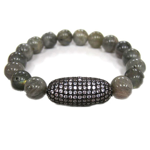 Labradorite Beads with Pave C.Z. Bead Bracelet