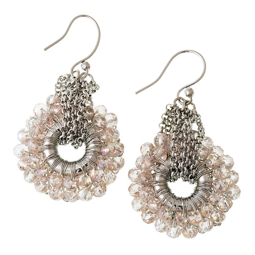 Crocheted Metal with Pink Crystals Earring