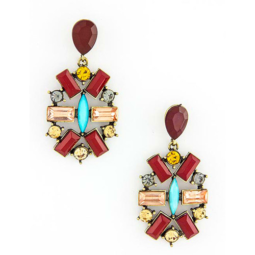 Jeweled Medallion Earring Red