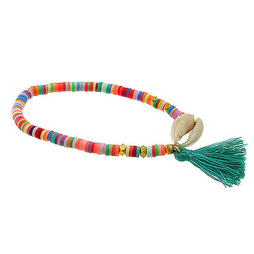 Multi-Colored Sequin, Shell & Tassel Bracelet