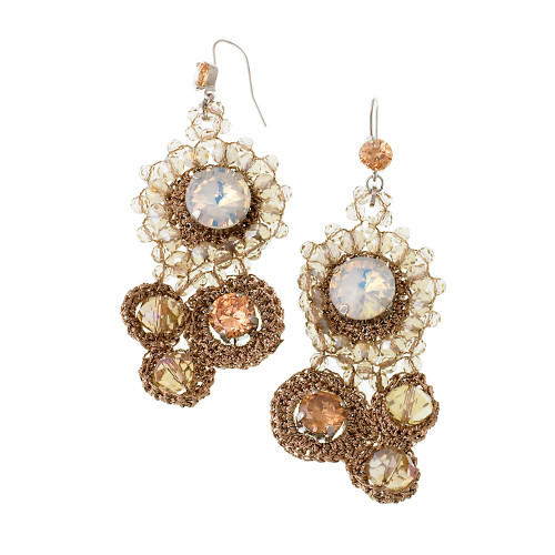Crocheted Flower Crystal Dangles