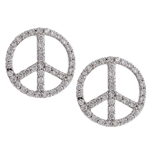 Cubic Zirconia Peace Sign Post Earrings