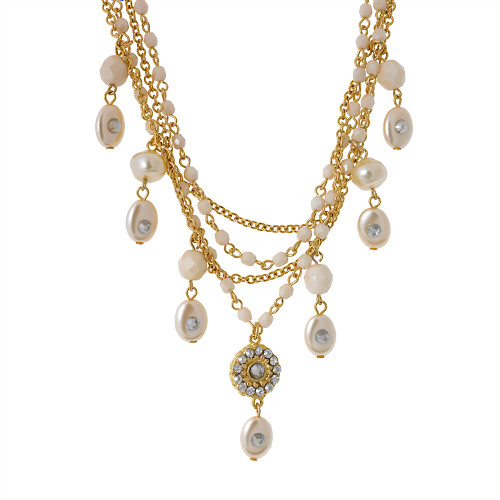 Bold Gold and Pearls Multi-Chain Necklace
