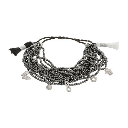 Multi-Strand Hematite Bracelet with C.Z. Charms