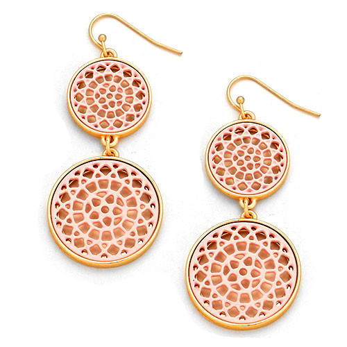 Pink Lacey Lotus Double Circle Earrings