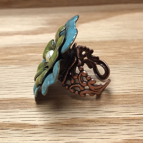 Blue and Green Enameled Flower Ring