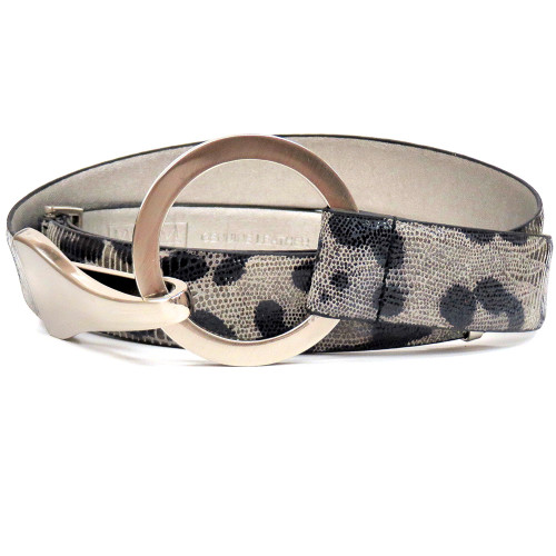 Gray Embossed Leopard Belt