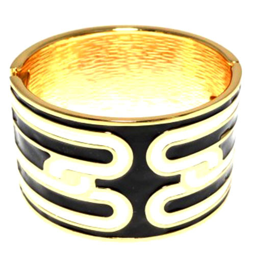 Black and White Enamel Design Cuff