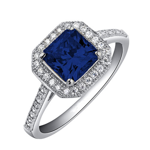 Lafonn's Princess Cut Sapphire and Diamond Ring