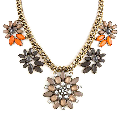 Heirloom Gray Floral Linked Necklace