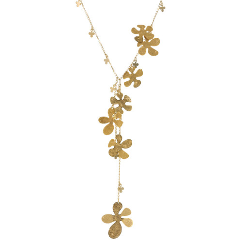 Bold Gold Funky, Organic Flower Necklace