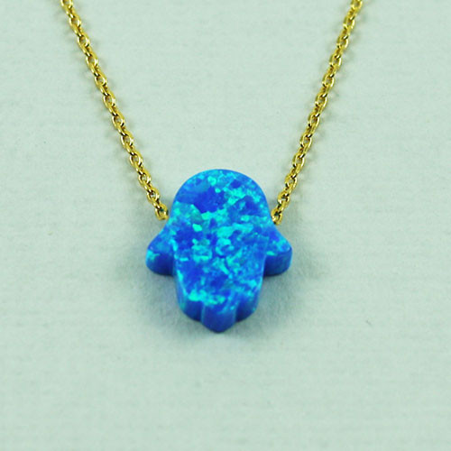Blue Opal Resin Hamsa Necklace
