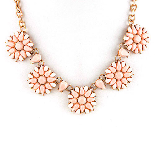 Blush Pink and White Floral Necklace