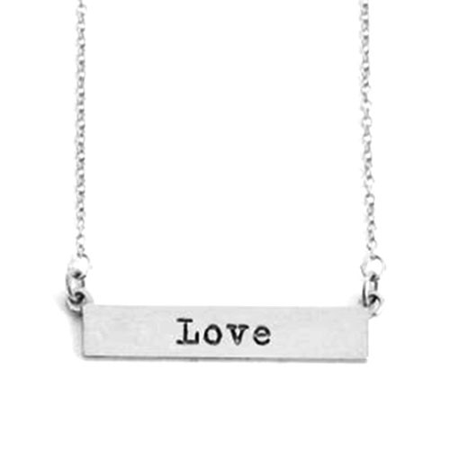 Our Silver LOVE Bar Necklace