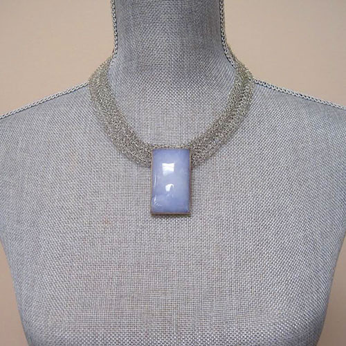 Metal Crocheted Mesh and Onyx Necklace 2