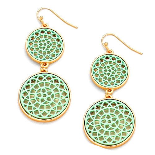 Mint Lacey Lotus Double Circle Earrings