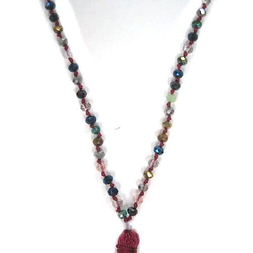 Iridescent Jewel Tone Metallic Crystal Beads & Tassel Necklace 1