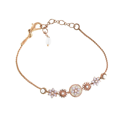Rose Gold Linked Flower Bracelet