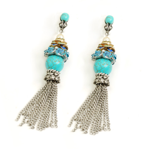 Turquoise Roses and Tassels Earring