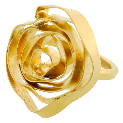 Bold Gold Open Rose Ring